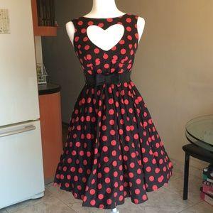 Hell Bunny Retro Polka Dot Heart Cutout Dress